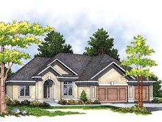 Ranch House Plan with 2007 Square Feet and 3 Bedrooms(s) from Dream Home Source | House Plan Code DHSW15045