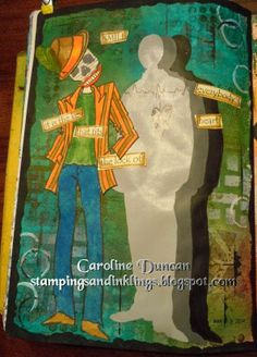 art journal by Caroline Duncan ~ Fun with new Dylusions colors and stencils www.stampingsandinklings.blogspot.com