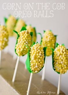 Corn on the Cob shaped OREO cookie ball pops