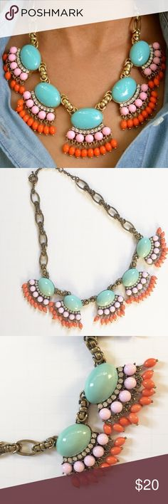 """Summer Fringe Necklace Summer Fringe Necklace. Brings the perfect pop of color to any outfit. Great condition. Just a little tarnish on the chain but not very noticeable.    *NO TRADES*                                                             ⭐️Use the """"Buy Now"""" or """"Add to Bundle"""" button for Purchasing. 10% off bundling available. ⭐️ Boutique Jewelry Necklaces"""