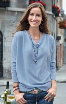 Experience the elegant comfort of our cashmere, cowl neck sweater.