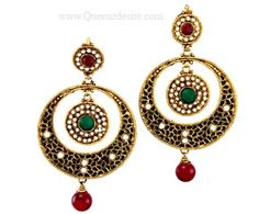 Polki Earring  [QDPER12]  Price:  $23.64  Tie up your hair and let these glorious beauties hang from your ears