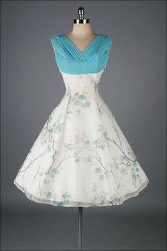 Vintage 1950's White Chiffon Bird Print Cocktail Dress