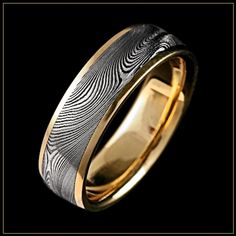 Starlight Damascus Steel Wedding Ring with 18K Royal Yellow Gold Channel - Wedding ring idea, with white gold instead of yellow