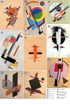 Suprematismwas an art movement focused on basic geometric forms such as circles squares lines and rectangles painted in a limited range of colors. It was founded by Kazimir Malevich in Russia in The term suprematism refers to an art based up Graphic Design Lessons, Kazimir Malevich, Russian Constructivism, Paper Collage Art, Composition Design, Geometry Art, Art Base, Diy Décoration, Pattern Art