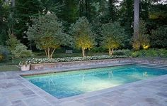 Lighting really makes all the difference, doesn't it? Backyard Pool Landscaping, Backyard Pool Designs, Swimming Pools Backyard, Swimming Pool Designs, Landscaping Ideas, Lap Pools, Indoor Pools, Small Backyard Pools, Small Inground Pool