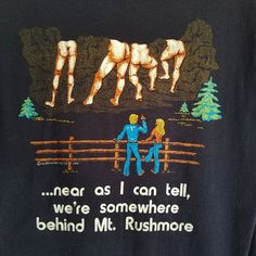 Vintage 70s Behind Mt. Rushmore Shirt Medium Humor Joke Black Adult Unisex Sz M #ChedbyAnvil #BasicTee