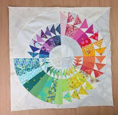 My first block for the Sorbet quilt from the book 'New York Beauties and Flying Geese' by Carl Hentsch, made in Tula Pink fabrics. Paper Piecing Patterns, Quilt Patterns, Tula Pink Fabric, Modern Quilt Blocks, Flying Geese Quilt, New York Beauty, Rainbow Quilt, Quilt Modernen, Thing 1
