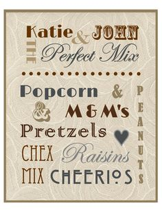 Wedding Trail Mix Menu  Rustic/Vintage Themed by ksoldo on Etsy, $20.00