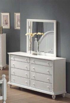 Kayla Transitional White Dresser & Mirror