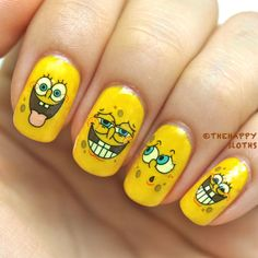 20pc SpongeBob SquarePants Silly face Nail art water slide decal transfer sticker 1606 $5 after shipping for 20 decals.
