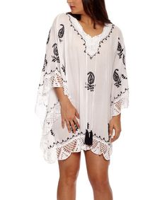 Loving this White & Black Paisley Crochet-Trim Peasant Top on #zulily! #zulilyfinds