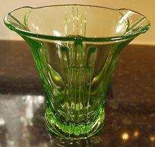 Stolzle Hermanova Hut Art Deco Uranium Green Glass Vase