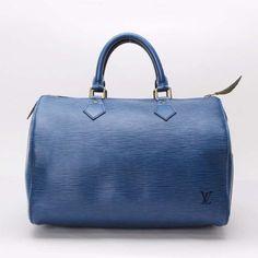 Louis Vuitton Speedy 35 Epi Handle bags Blue Leather M43005
