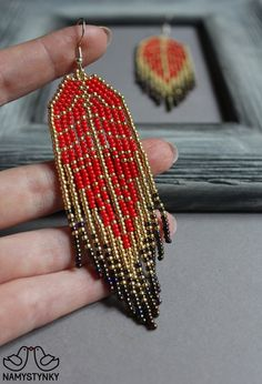 Leaf Red Long earrings Autumn Chandelier beaded earrings Gold earrings Red Seed bead earrings Boho e Seed Bead Jewelry, Seed Bead Earrings, Fringe Earrings, Leaf Earrings, Gold Earrings, Beaded Jewelry, Seed Beads, Diy Jewelry, Jewelry Making