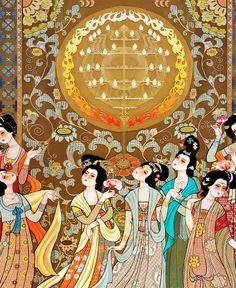 tapisserie numérque sur mesure style asiatique-La danse musicale de la cour royale