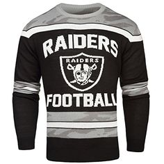 e37992765 NFL Oakland Raiders Ugly Glow In The Dark Sweater, Medium Made of Acrylic  Let your team pride glow Features vibrant team colors and logos For Best  result: ...