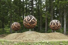 Leftover Wooden Logs Sculpted Into Enormous, Organic