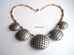Silver Polymer necklace circles with square by UnderwoodPolymerArt