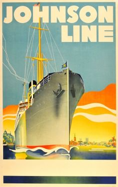 Johnson Line Art Deco Cruise Ship, 1930s - original vintage poster listed on AntikBar.co.uk