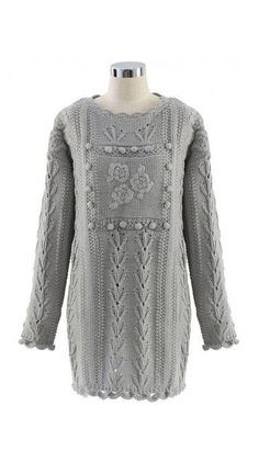 fe689b216 Floral Knitted Sweater Dress in Grey Knit Sweater Dress, Long Sweaters,  Sweater Fashion,