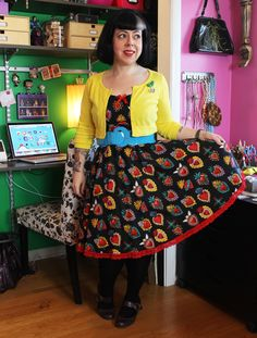 Colorful Pinup Style/Sacred Hearts dress - an OOTD on Betties N Brimstone blog - be sure to share/re-pin for fashion inspiration/reference!