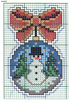 christmas decoration snowman Cross Stitch Christmas Ornaments, Xmas Cross Stitch, Cross Stitch Books, Cross Stitch Cards, Christmas Embroidery, Christmas Cross, Cross Stitching, Cross Stitch Embroidery, Plastic Canvas Christmas