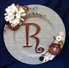 Items similar to Monogrammed Burlap Charger or Burlap Plate in Neutrals on Etsy