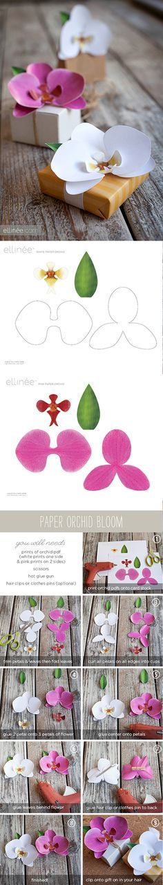 How to make paper Orchids - Tutorial and free printable from ellinée. (The white orchid would look especially lovely with some shimmer spray or perfect pearls to make it sparkle).