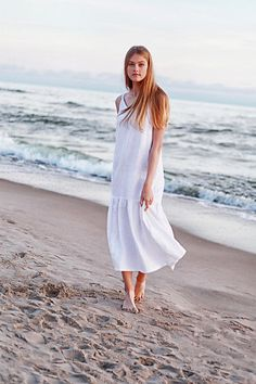 Ruffled Linen Maxi Dress Long Linen Dress White Linen Dress