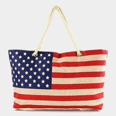 "American Flag Canvas Tote Beach Bag • Style No : [306061] • Color : Multi • Theme : Flag  • Size : 22"" W, 14"" H, 4"" T • Strap : 11"" L • Material : 40 % Cotton / 60"" Polyester • American flag canvas tote beach bag....Perfect for the upcoming 4th of July Bags Totes"
