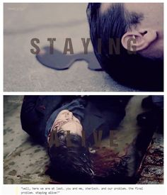 Moriarty and Sherlock. The final problem... staying alive. Sherlock (BBC)- Reichenbach Falls. Click thru for GIF>