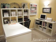 This scrapbook room is almost too perfect!  Kinda inspiring though... makes me wanna go organize my craft room!  ...or at least clear some table space so it's usable.... :P