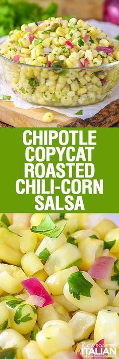 Chipotle Copycat Roasted Chili-Corn Salsa is a medium heat, smoky and slightly…