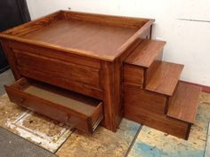 wooden raised bed side dog bed with stairs