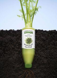 この野菜ジュースは、野菜以上に野菜そのものの旨みが詰まっていますよ!という事を訴求する、シンプルでクリエイティブなポスター広告2