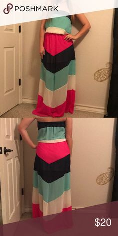 Strapless maxi dress Fun, colorful chevron maxi dress. Perfect for vacations or going out with friends. agaci Dresses Maxi