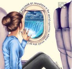 Este es un dibujo muy bonito de una mujer viendo por la ventana de un avion....