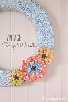 Vintage Scrap Wreath made from left over scrap fabric!  via createcraftlove.com #wreath #fabric #summer