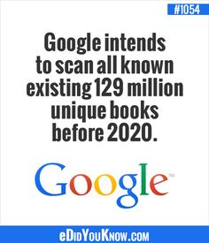 eDidYouKnow.com ► Google intends to scan all known existing 129 million unique books before 2020.