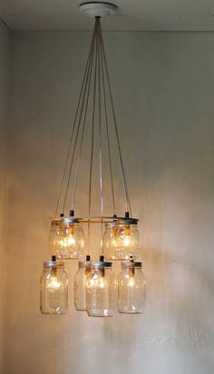 Double Decker MASON JAR Chandelier  Upcycled Hanging by BootsNGus, $225.00