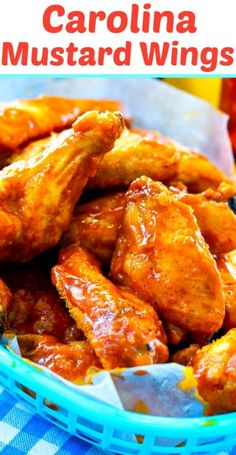 Carolina Mustard Wings are fried until crispy and then coated in a spicy, tangy, and a little sweet mustard sauce. These wings are perfect for gameday. Healthy Low Carb Recipes, Vegetarian Recipes, Turkey Recipes, Cooking Recipes, Chicken Wing Recipes, Keto Chicken, Fried Chicken, Southern Kitchens, Mustard Chicken
