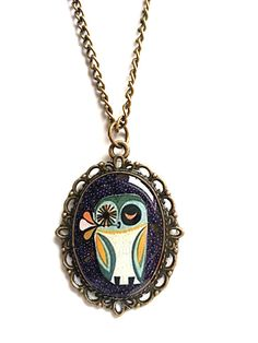 Crazy owl necklace Resin jewelry Vintage Resin by AgnesJewels, £9.00 Love it ~ must try! #ecrafty
