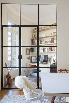 Interior french doors add a beautiful style and elegance to any room in your home. Office Interior Design, Office Interiors, Design Interiors, Design Offices, Living Spaces, Living Room, Cozy Living, Deco Design, Decoration Design