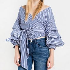 fba75fc44 HDY Haoduoyi Striped Bowknot Short Blouse Layered Long Sleeve Lace-up Off  Shoulder Tops Casual High Waist Autumn Shirts