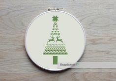 christmas cross stitch pattern, modern christmas tree, nordic folk art, PDF, ** instant download** by Happinesst on Etsy https://www.etsy.com/listing/209227901/christmas-cross-stitch-pattern-modern