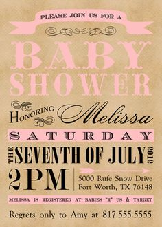 DIY vintage baby shower invite  by SongbirdGreetings on Etsy