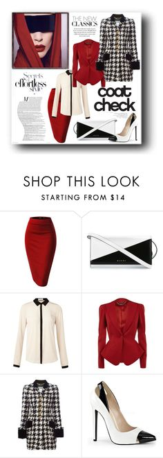 """Houndstooth"" by edythe-hamilton ❤ liked on Polyvore featuring Marni, Oui, Alexander McQueen, Moschino, BCBGMAXAZRIA, women's clothing, women, female, woman and misses"