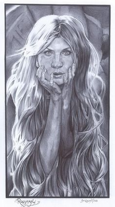 Clemence Poesy as Rapunzel, illustrated with a Bi biro