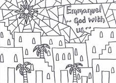 Emmanuel- God with us: Printable Christmas Reflective Colouring Sheet.